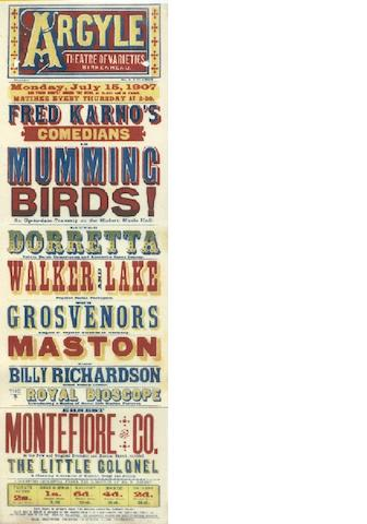 A Fred Karno's comedy bill advertising poster, from The Argyle Theatre, Birkenhead,