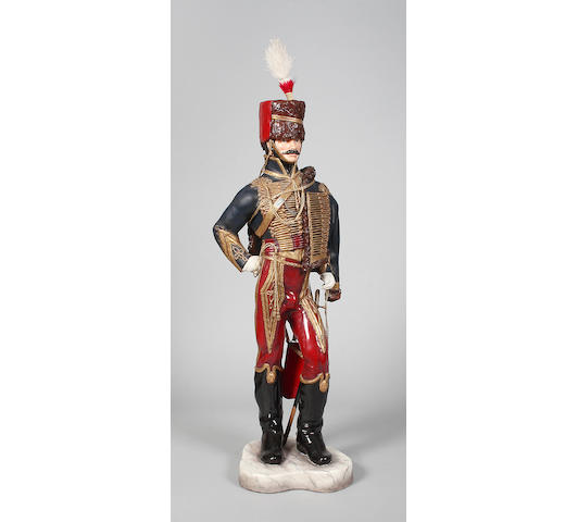 Michael J Sutty bone china figure '11th Hussars, 1857 'The Cherry Pickers'dated 1991,
