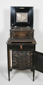 Ebonised polyphon with cabinet & discs