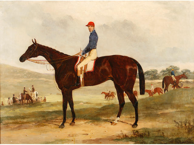 Harry Hall (British, 1813-1882) A chestnut racehorse with jockey up, other riders circling, at the start