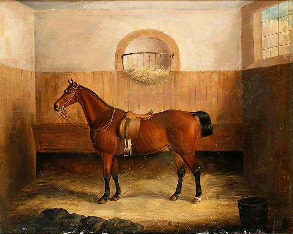 Samuel Spode (British, fl.1825-1858) A bay horse in a stable interior