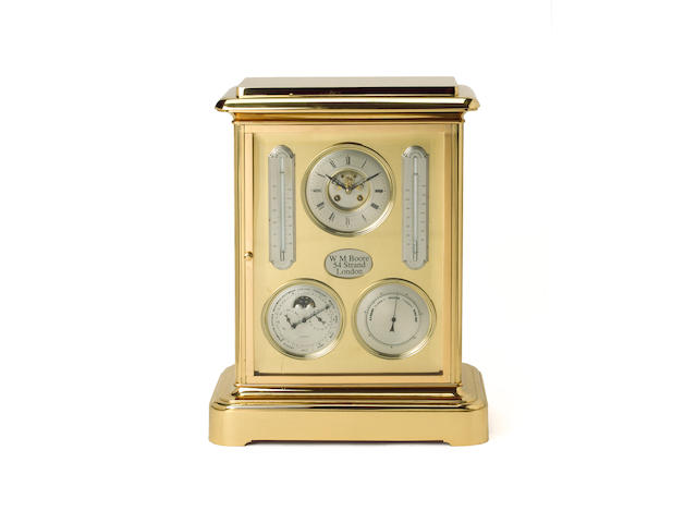 An impressive large brass mantel clock with barometer and calendar dials W M Boore, 54 Strand, London