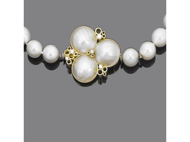 A single-strand cultured pearl necklace and bracelet suite, by Geoffrey Turk