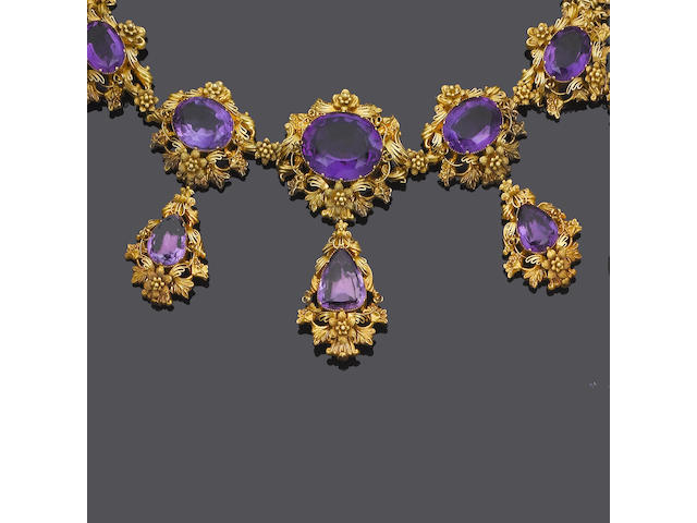 A mid 19th century gold and amethyst necklace and earring suite, (2) (partially illustrated)