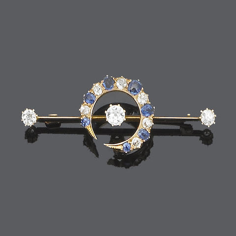 A late 19th century sapphire and diamond crescent brooch,