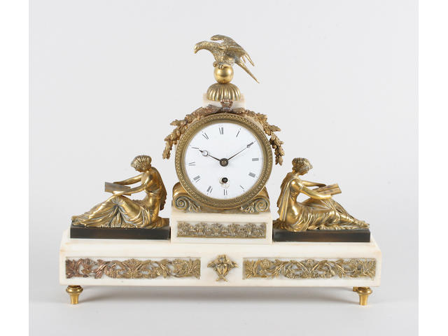 An early 19th century white marble and gilt brass mounted mantel timepiece, attributed to the Baetens family of Soho, London