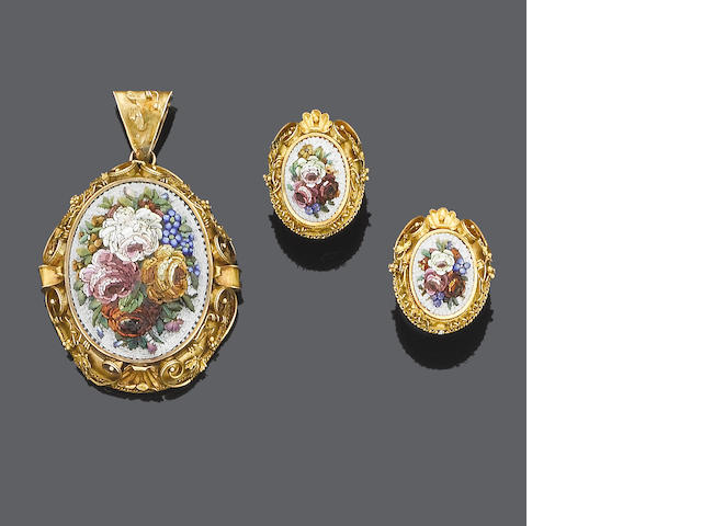 A mid 19th century micro mosaic pendant and earring suite