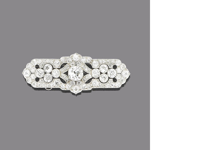 An art deco panel brooch,