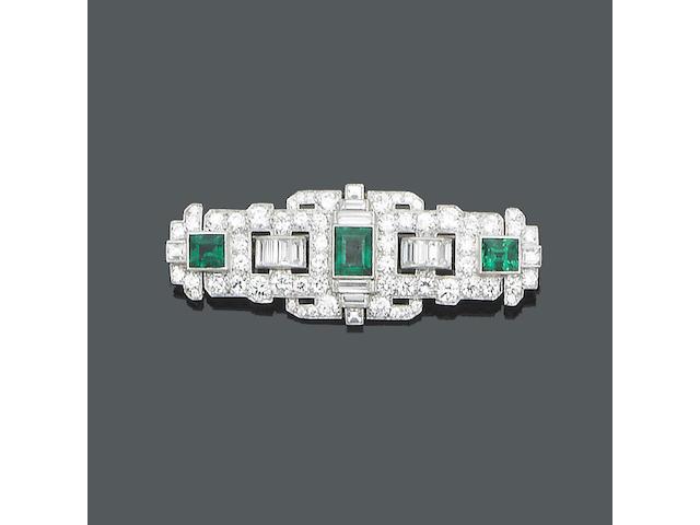 An art deco emerald and diamond panel brooch,