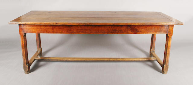 A good late 18th/early 19th century French fruitwood farmhouse type refectory table
