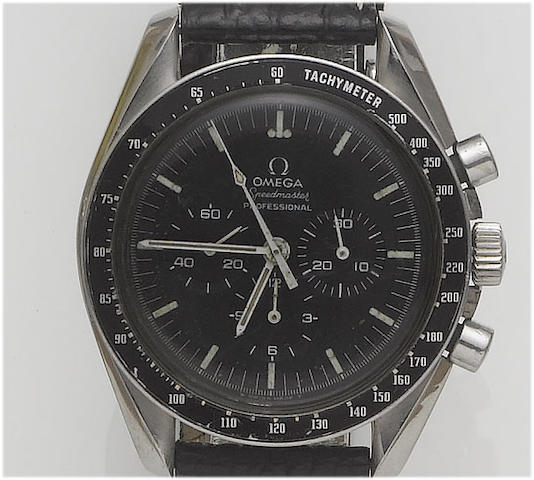 Omega. A stainless steel chronograph wristwatch    Speedmaster, 1970's