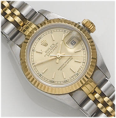 Rolex. A lady's stainless steel and gold calendar bracelet watch  Datejust, sold in 1999