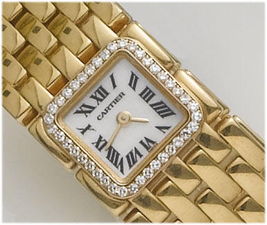 Cartier. A lady's 18ct gold diamond set bracelet watch Recent