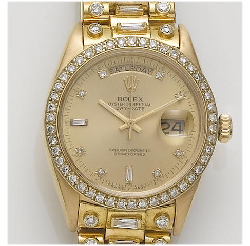 Rolex. A gents 18ct gold diamond set calendar bracelet watchDay-Date, 1977