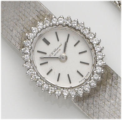 Chopard. A lady's 18ct white gold diamond set bracelet watch 1970's
