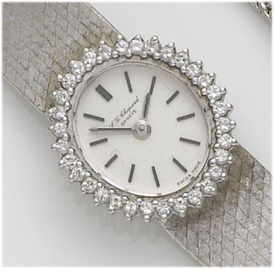 Chopard. A lady's 18ct white gold diamond set bracelet watch 1970's