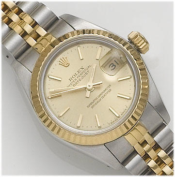 Rolex. A lady's 18ct gold and stainless steel calendar bracelet watch  Datejust, 1988