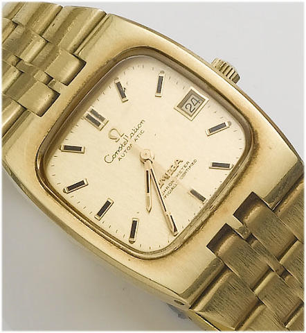 Omega. An 18ct gold centre seconds calendar bracelet watch   Constellation, 1973