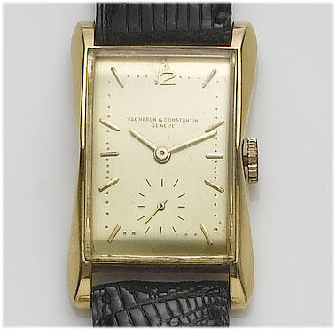 Vacheron Constantin. A gents 18ct gold rectangular wristwatch with flared sides 1940's