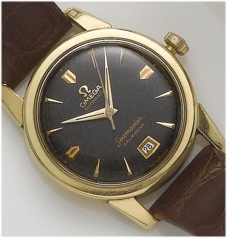 Omega. An 18ct gold calendar wristwatchSeamaster, 1953