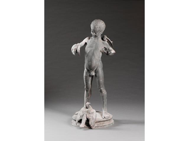 A lead statue of a boy, 19th Century