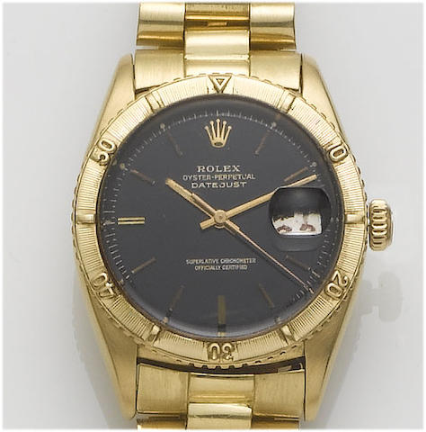Rolex. An 18ct gold centre seconds calendar bracelet watch  Datejust, 1960's
