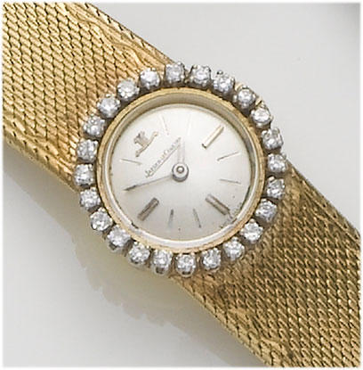 Jaeger Le Coultre. A lady's 18ct gold diamond set bracelet watch  1960's