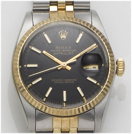Rolex. A stainless steel and 18ct gold centre seconds calendar watch Datejust, 1980