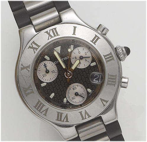 Cartier. A stainless steel chronograph wristwatch Recent