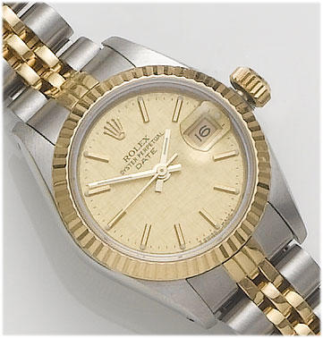 Rolex. A lady's stainless steel and 18ct gold calendar bracelet watch  DateJust, 1985