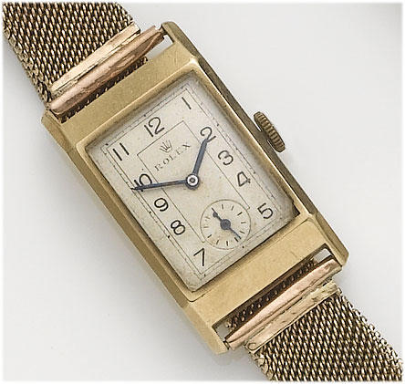 Rolex. A gents 9ct gold bracelet watch Glasgow Import mark for 1935