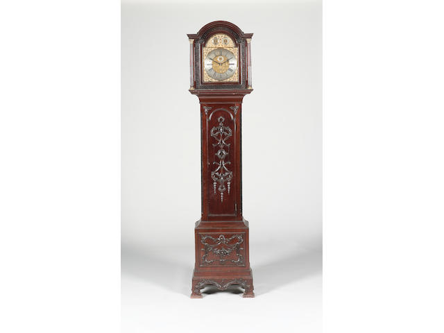 An early 20th century mahogany-cased quarter chiming longcase clock  Unsigned