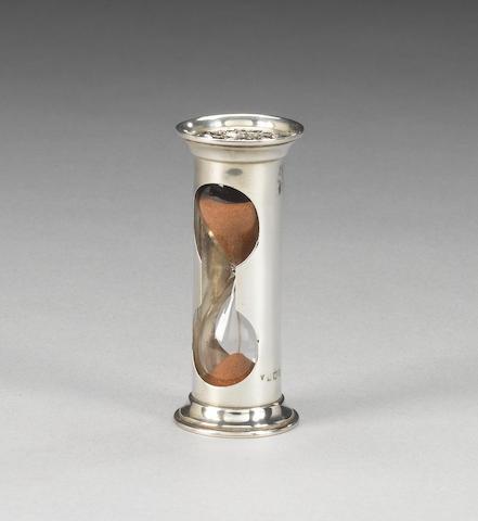 An Edwardian silver egg-timer, by W J Myatt, Birmingham 1905,
