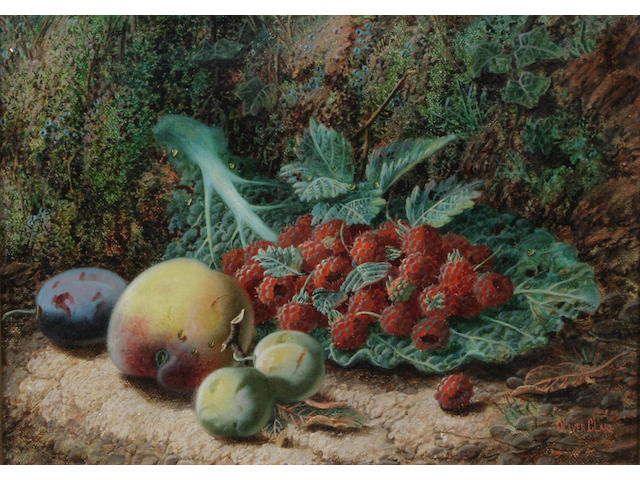 Oliver Clare (British, 1853-1927) Raspberries on a cabbage leaf, greengages, a plum and a peach against a mossy bank; Black grapes, apples, gooseberries and strawberries against a mossy bank