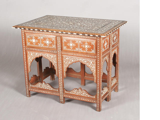 A late 19th century Indian rectangular teak, foliate ivory and ebony inlaid occasional table
