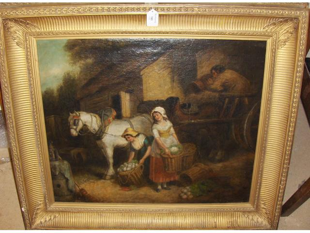 Follower of George Morland Off to market, figures loading baskets of produce on to a cart, bears signature, oil on canvas, 55 x 64cm.