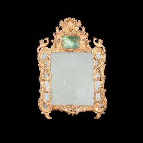 A Continental giltwood wall mirror