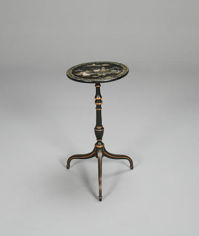 An early Victorian japanned, ebonised and mother of pearl tripod table