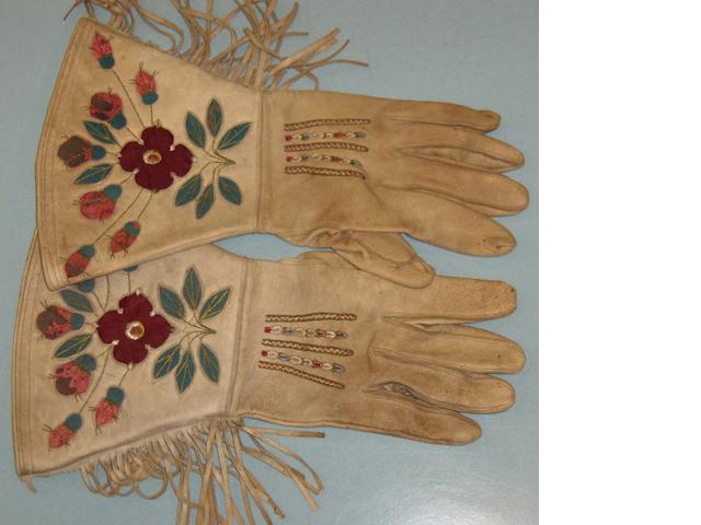 A pair of Native American buckskin gauntlets, Canada 34cm long 3