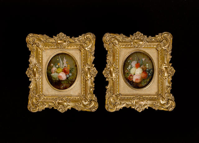 French School, 19th Century A pair of still-lifes of flowers including roses