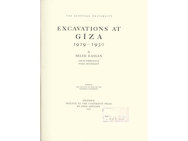 HASSAN (SELIM) Excavations at Giza [The Egyptian University], vol. 1-10 in 16 vol.