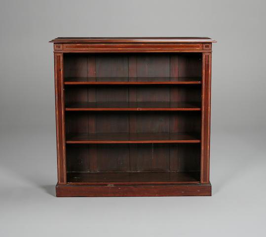 An Edwardian mahogany open bookcase