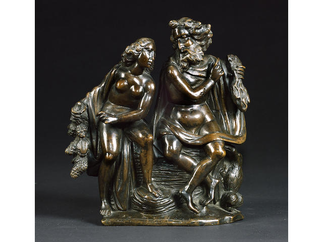 A 16th Netherlandish bronze figural group of Jupiter and Ganymede