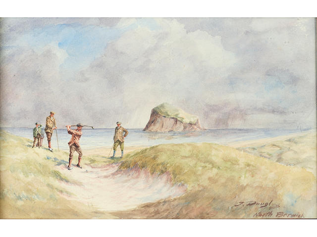 Douglas, J. (1858-1911): North Berwick A watercolour study featuring golfers playing the 12th hole of the West Links circa 1907, signed by the artist lower right, framed and glazed. 8 ¾ x 13 ¾ inches