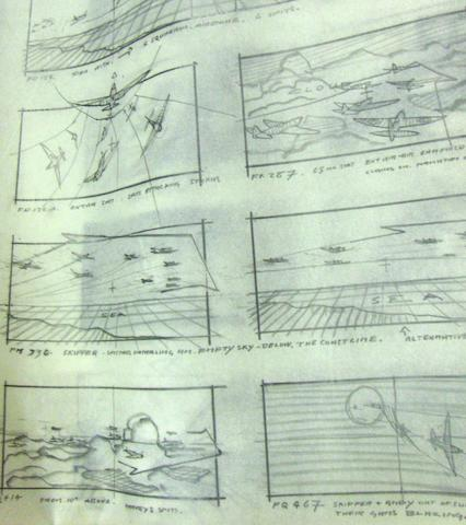A collection of production drawings and storyboards from The Battle of Britain, United Artists, 1969,25