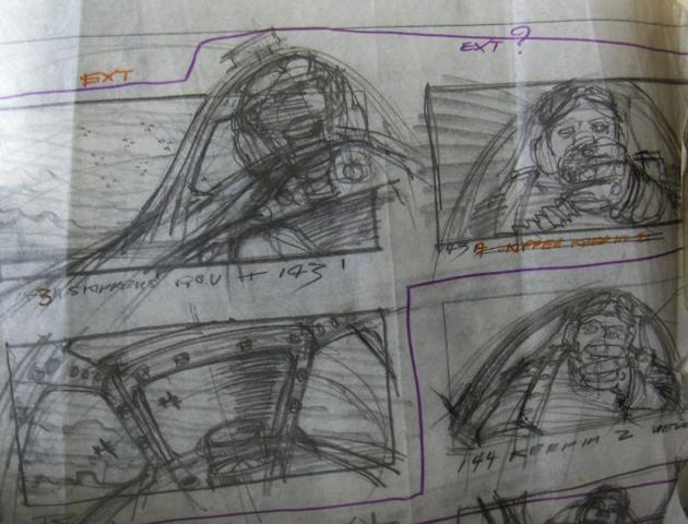 A collection of production drawings and storyboards from The Battle of Britain, United Artists, 1969,