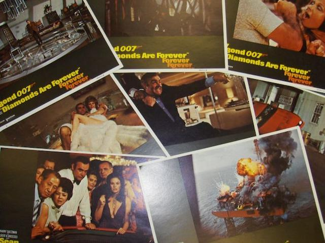 Four sets of James Bond related lobby cards, including;