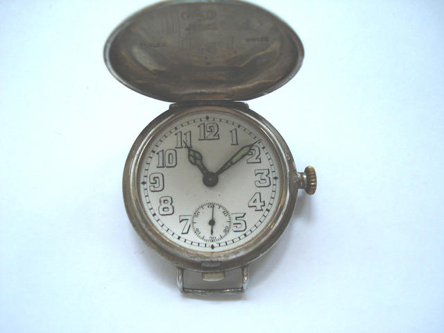 Rolex. A silver hunter cased wristwatchLondon Hallmark for 1917