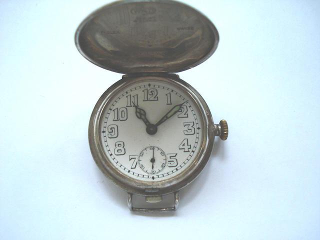 Rolex. A silver hunter cased wristwatch London Hallmark for 1917