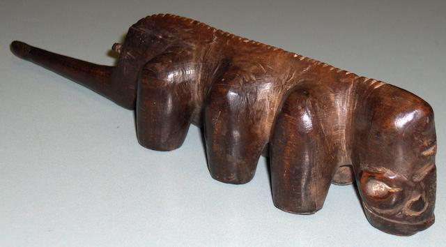 A rare South Nguni zoomorphic pipe, Southeast Africa, 28cm long